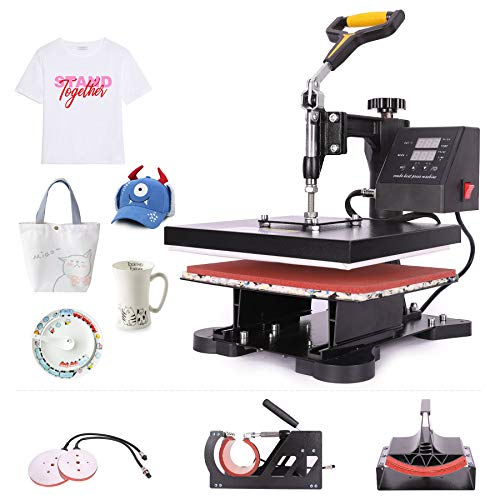 CO-Z 110V 5 in 1 Heat Press 360 Degree Swivel Heat Press Machine Multifunction Sublimation Combo T Shirt Press Machine for Mug Hat Plate Cap Mouse Pad (12x10 inches)