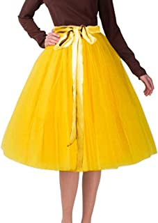 Knee Length Tulle Skirt 6 Layer Midi Tutu Tulle Prom Princess Party Dance Skirt with Belt