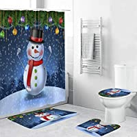 クリスマスのシャワーカーテンセット、滑り止めマットのふたトイレカバーバスマットで雪だるま車クリスマスツリー漫画の写真、浴室用防水デコレーション snowmen-180*200cm