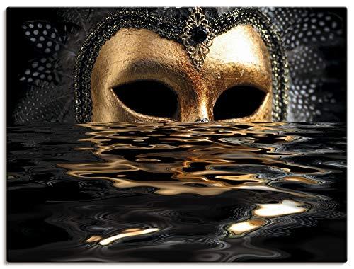 Artland Leinwandbilder Wandbild Bild auf Leinwand 60x45 cm Feiertage & Feste Karneval Fotografie Gold Venezianische Maske mit Blattgold T6AN