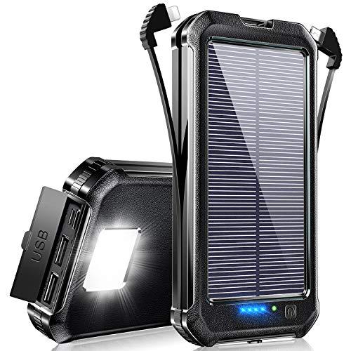【2021年版 & ケーブル内蔵】 モバイルバッテリー ソーラー Totemoi 30000mAh 大容量 ソーラーチャージャー 四台同時充電(2ケーブル内蔵+2つUSBポート) 3way蓄電 ソーラー充電器 高輝度LEDライト付き 防水 耐衝撃 旅行/出張/緊急用 防災グッズ PSE認証済 iPhone/iPad/Android各種他対応 (ブラック)