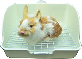 RUBYHOME Rabbit Litter Box Toilet, Plastic Square Cage Box Potty Trainer Corner Litter Bedding Box Pet Pan for Small Animals, Rabbits, Guinea Pigs, Chinchilla, Ferret, Galesaur, 11 Inches (White)