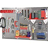 Wall Control Slotted Pegboard Industrial Workstation Accessory Kit - Red, Model Number 35-K-WRKRD