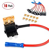 Nilight 10 Pack 12V Car Add-a-circuit Fuse TAP Adapter with 5 Amp Standard APR ATO ATC Blade Fuse Set for Cars Trucks Boats