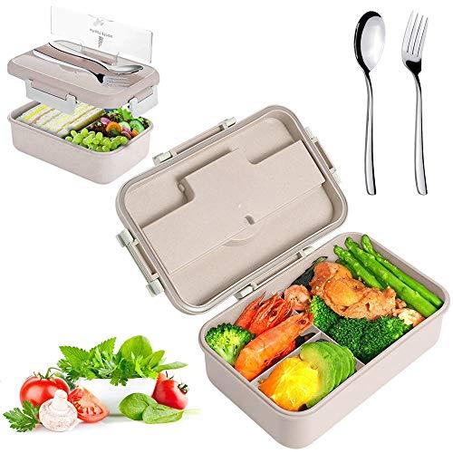 Sunshine smile Lunchbox Picknick,Lunchbox Kinder,Brotbox Kinder,Lunchbox mit Fächern,Brotdose Kinder,Lunchbox Box für Kinder (braun)