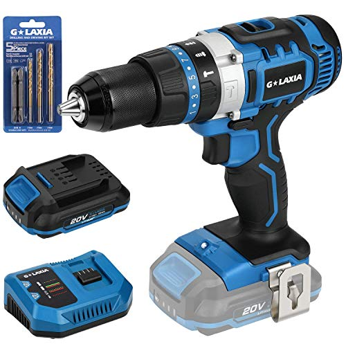 G LAXIA 20V Lithium Ion 2-Speed Cordless Drill Driver with Variable Speed, Max Torque(50N.m), 21+3 Clutch, 1/2 inch Keyless Chuck, Built-in LED, Belt Clip, 2.0Ah Battery & 1 Fast Charger