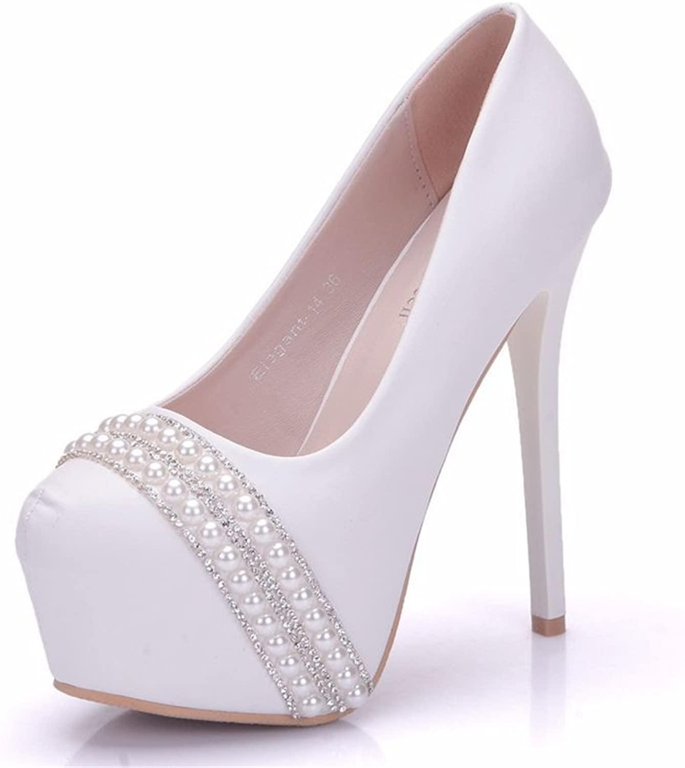 SUNNY Store Pearls Womens Platform Wedding,Party,Evening,Proms Pumps shoes