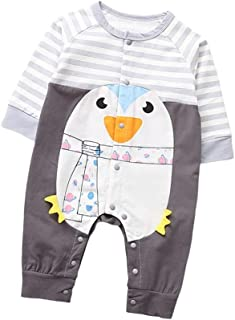 Fairy-Baby Unisex Kids Autumn Playwear Long Sleeve Cotton Romper with Cute Cartoon Animal Printing Design Toddlers Casual Homewear (Color : Gray, Size : 73CM)