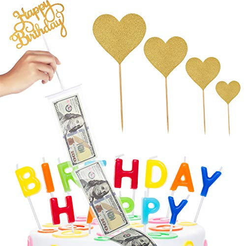 Cake Money Box Set Glitter Heart Cake Toppers Happy Birthday Cake Topper for Birthday Party Decoration with 1 Plastic Roll (20 Connected Pockets)