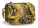 GLADDON Designer Shoulder Bags for Women Small Snakeskin Purse Crossbody Yellow