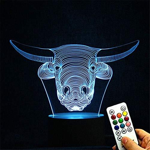 Deerbird® Taureau Tête Forme 3D Optique Illusion LED 7 changement de couleur USB toucher Veilleuse Table Lampe de bureau avec Base blanche et Keys Remote Manette
