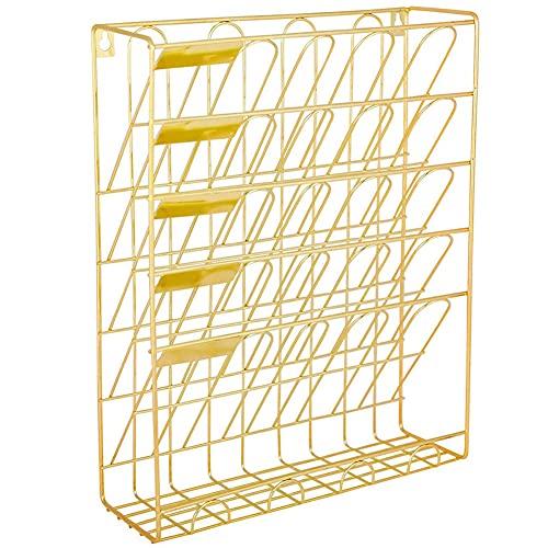 BAWAQAF Soporte para archivos, organizador de archivos, 5 ranuras de alambre de metal para colgar documentos, para oficina, hogar, almacenamiento de archivos