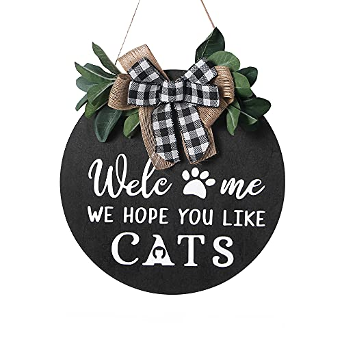 Alnicov, cartello di benvenuto da 25,8 cm, con scritta in inglese 'Welcome We Hope You Like Gatti', in legno di benvenuto per la decorazione della casa di Natale