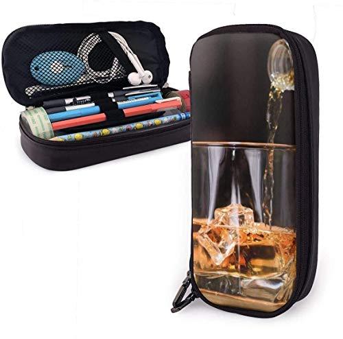 AOOEDM Whiskey Drinks Highball Glas Eis PU PU Leder Federmäppchen, Bleistift-Organizer, Kosmetiketui, langlebige Studenten Schreibwaren-Organizer mit zwei elastischen Reißverschlussgürteln für Schul