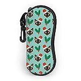 Funda para gafas, diseño de gato siamés de Navidad con mosquetón, ultraligero, portátil, neopreno, con cremallera, funda suave