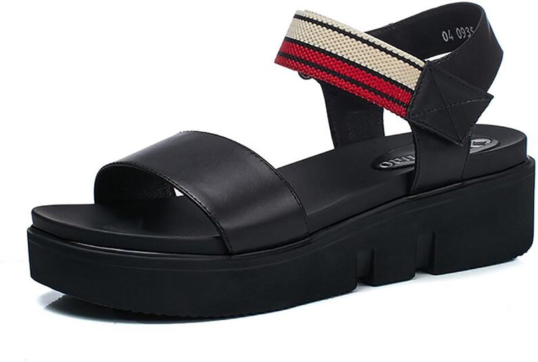 Fashion Simple Sandals Women Casual Flat shoes ( color   Black , Size   34 )