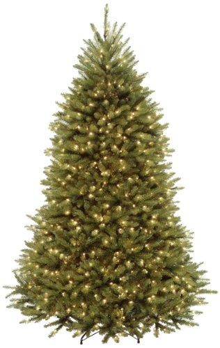 National Tree Company lit Artificial Christmas Tree Includes Pre-Strung White Stand, Dunhill Fir - 7 ft, Clear Lights