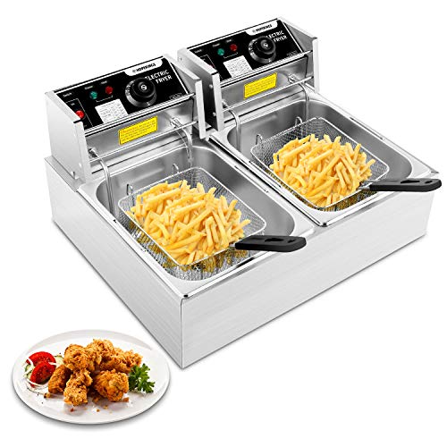Hopekings Commercial Deep Fryer with Baskets & Lids, 12.7QT Electric Deep Fryer with Temperature Control, Stainless Steel, Double Countertop Oil Fryer for French Fries Fish Restaurant Home Kitchen
