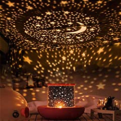 【Colourful Design】-This Kids Night Light Lamp comes with 3 upgraded LED bulbs(white,blue,yellow), it projects much wider range and generates much brighter light. 6 modes film(starry sky, lovers in the stars, sea world, 12 constellations, happy birthd...