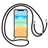 mixigoo Cover iPhone 11 Tracolla, Cover Trasparente con Cordino per iPhone 11 Custodia Bumper Cordoncino Case Angoli Rinforzati con Laccio Tracolla - 6,1 Pollici