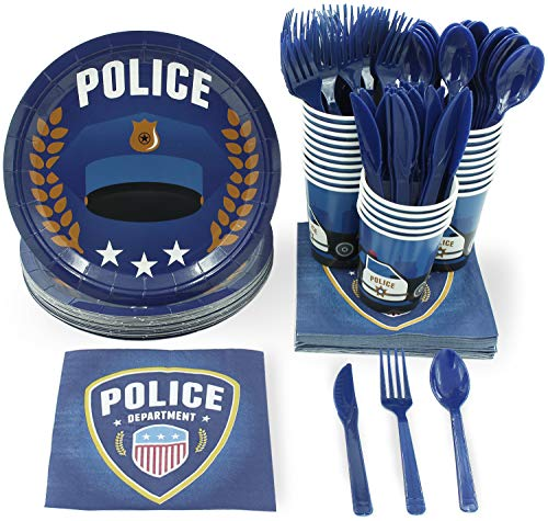 Disposable Dinnerware Set - Serves 24 - Police Party Supplies for Kids Birthdays, Includes Plastic Knives, Spoons, Forks, Paper Plates, Napkins, Cups