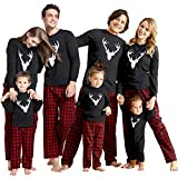 IFFEI Matching Family Pajamas Sets Christmas PJ's with Deer Long Sleeve Tee and Plaid Pants Loungewear Women: L