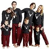 IFFEI Matching Family Pajamas Sets Christmas PJ's with Deer Long Sleeve Tee and Plaid Pants Loungewear Men: M
