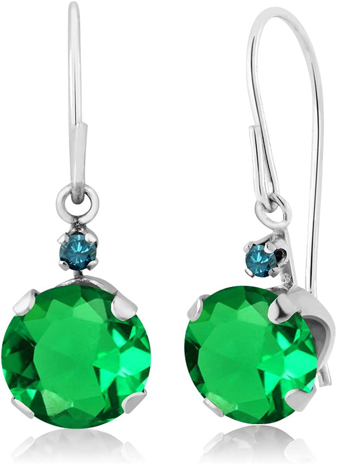 1.57 Ct Round Green Nano Emerald bluee Diamond 14K White gold Earrings