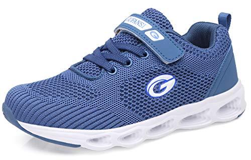 GUFANSI Sportschuhe 30 Jungen Kinderschuhe Sneaker Fitnessschuhe Hallenschuhe Leicht Outdoor Laufschuhe Sportschuhe Tennisschuhe Walkingschuhe Blau Blue Mesh Turnschuhe für Unisex-Kinder(Blau1,30EU)