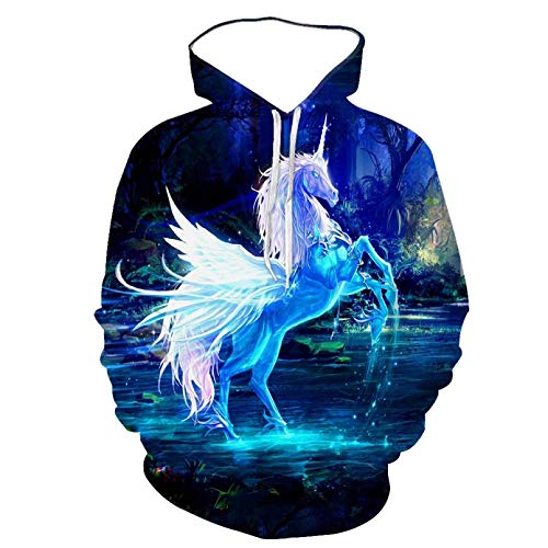 Unisexo Sudaderas con Capucha Impresa Cool Men and Women 3D Hoodie Printed Animal White Horse Pattern Moda...