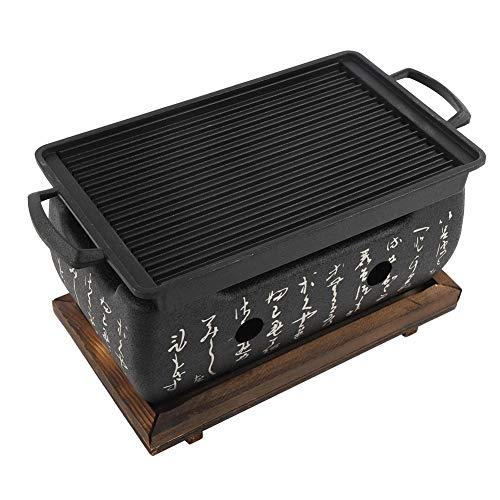 Zouminyy Horno rectangular de barbacoa, cocina japonesa, estufa de carbón, estufa de alcohol japonés antiadherente para barbacoa