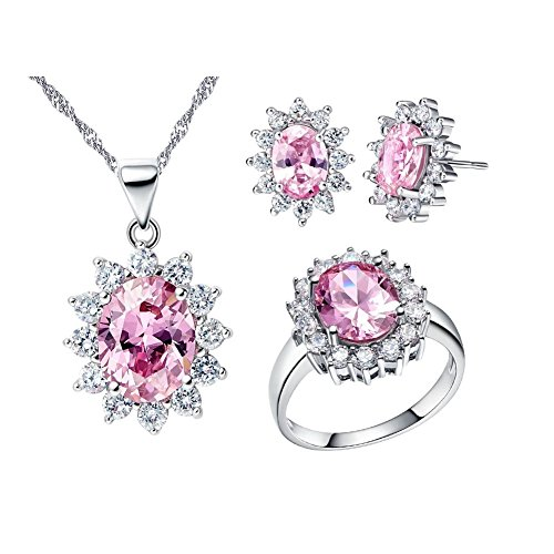 Uloveido Women Necklace and Earrings Rings Size O Jewellery Set for Wedding Anniversary with Pink Crystals T466