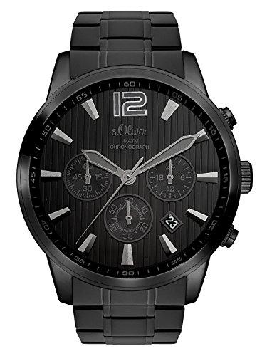 s.Oliver Time Herren Chronograph Quarz Uhr mit Edelstahl Armband SO-3337-MC