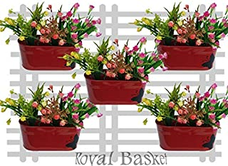 Royal Basket Butterfly Oval Railing Planters (red, Pack of 5)