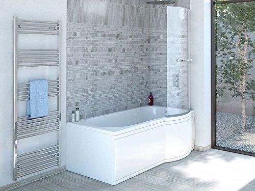 Badewanne SKALI Rechts 167,5x80/70cm + Duschkabine + Wannenschürze + Ablaufgarnitur + Wannenfüße