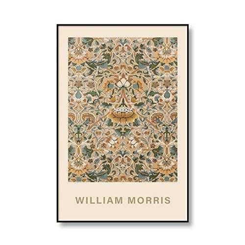Arte de pared de flores de William Morris, imagen de planta, lienzo, pintura de exposición, pintura para el hogar, lienzo sin marco, A3 60x90cm