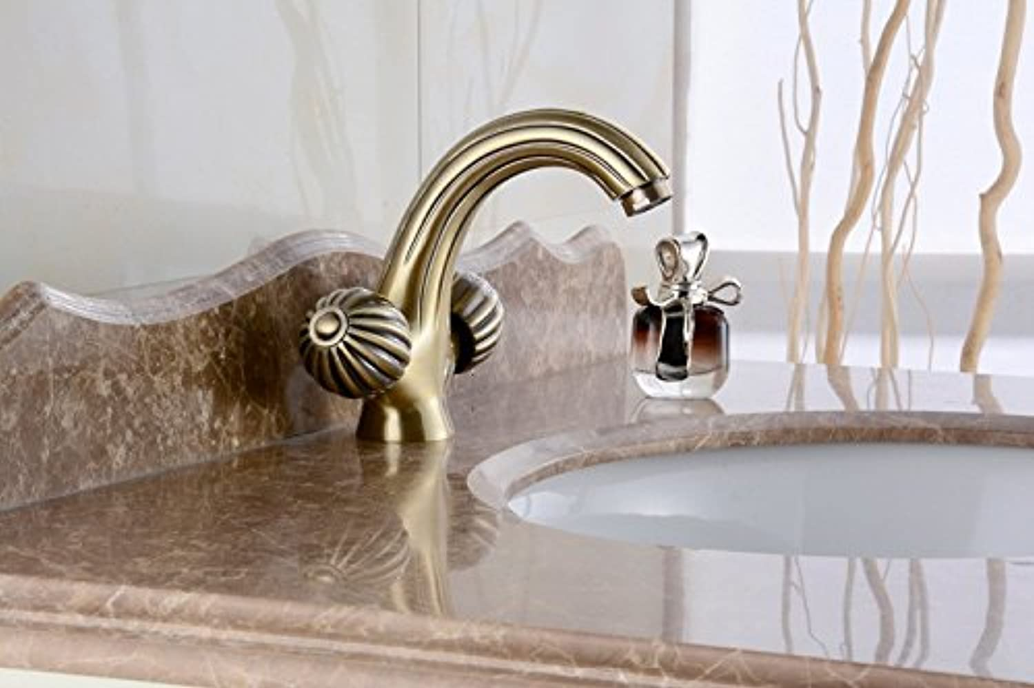 ZHFC- Green bronze double handle hot and cold faucet bathroom faucet