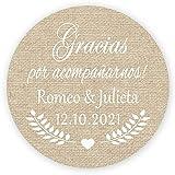 MameArt 50 PCS Pegatinas Personalizadas Boda Gracias por acompañarnos, 4cm Etiquetas Perfecto para Invitaciones Matrimonio Boda Fiesta (Lino)