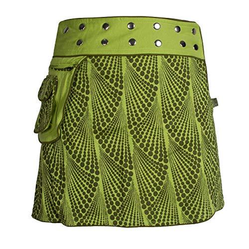 Vishes - Alternative Bekleidung - Verstellbarer Damen Baumwoll Wickelrock mit Druckknöpfen und Gürtel-Tasche hellgrün 38-44