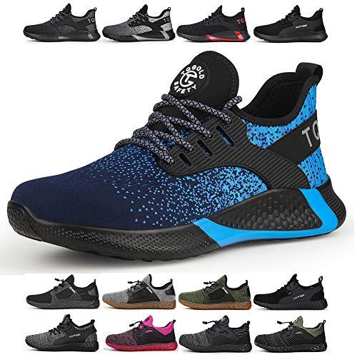 tqgold Sicherheitsschuhe Herren Damen S3 Arbeitsschuhe mit Stahlkappe Sportlich Leichtgewich Breathable rutschfeste Wasserdichtes Schuhe(Blau,Größe 39)
