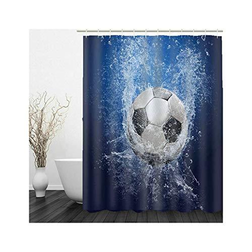 Aeici Bad Vorhang 3D Badewannenvorhang Anti-Schimmel mit Ring,Fußball Wasser Badewanne 90x180 cm Duschvorhang für Vorhangschiene Schwarz Weiß Blau
