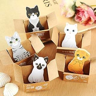 5 Stücke Nette Kawaii Cartoon Box 3D Katze Notizblock Haftnotiz Selbstklebe