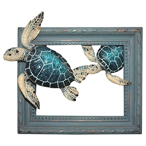 """Comfy Hour Ocean Voyage with Sea Turtles Collection 7"""" Turtle Coastal Ocean Theme Wall Decorative Frame, Polyresin"""