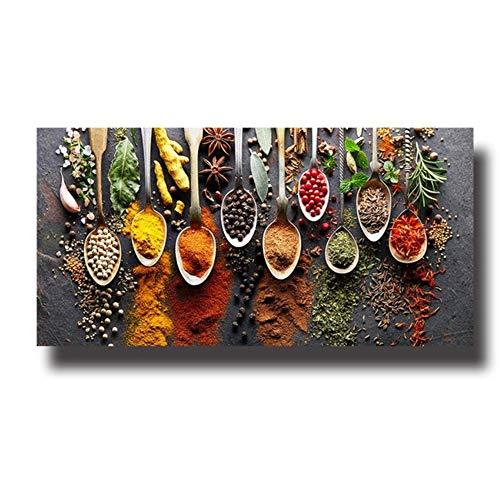 BFSA Cereali Spezie Cucchiaio Peperoni Cucina Pittura su Tela Poster e Stampe Arte della Parete Immagine Cibo 110 x 72 cm x 1 Nessuna Cornice