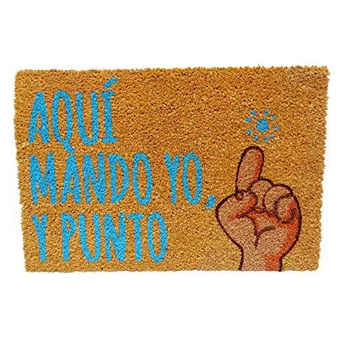 KOOK TIME Koko Doormats Felpudo para Entrada de Casa Original, Modelo Aquí Mando yo, Fibra de Coco y PVC, 40x60cm