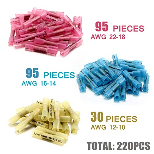 220PCS Heat Shrink Butt Connectors - Sopoby Electrical Connectors - Waterproof Wire Connectors Terminals - Insulated Marine Automotive Copper Connector Kit (3 Colors/3 Sizes)