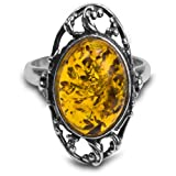 Sterling Silver Amber Oval Grapevine Ring