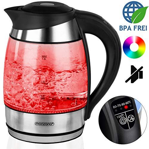 monzana Wasserkocher Teekocher BPA frei | 1,8L Farbwechsel Kalkfilter 2200W | Temperatureinstellung 60 - 100° Celsius I BPA frei