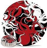 Set di 4 sottobicchieri polpo per assorbire bevande, sottobicchiere in ceramica con base in sughero, adatto per tazze e tazzine, casa, ufficio, cucina, mare oceano Kraken Underwater Marine Animal Bl