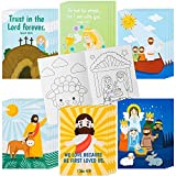 GROBRO7 24Pcs Christian Bible Coloring Books for Kids DIY Art Drawing Book with Angels Priests Churches Candles Crosses Patterns Color Booklets for Sunday School Classroom Rewards Goodie Bag Filler